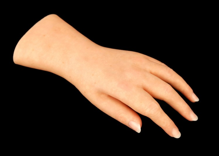 Top side of left cosmetic hand.