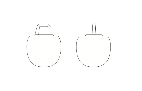 Industrial design black-and-white drawing of the cold cream jar.