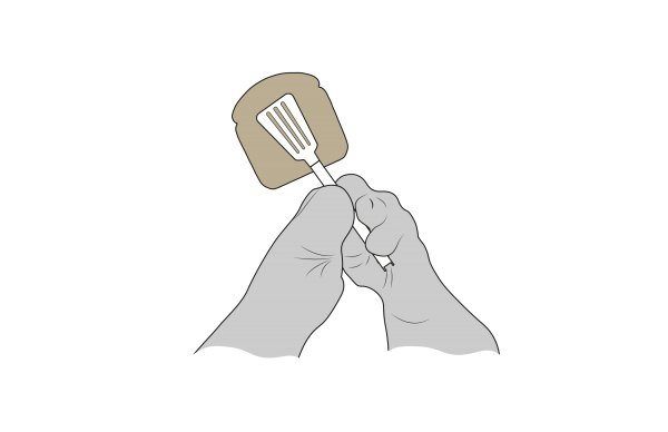 A technical drawing showing Cindy's two hands able to grasp the tongs around a slice of bread with her particular fingers.