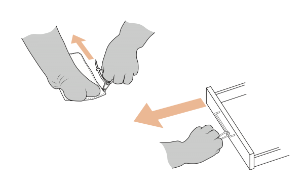 A technical drawing showing Cindy's specific hand movements pulling the zipper on a purse, or opening a drawer by its placement on a small drawer pull.