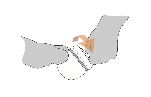 Industrial design black-and-white drawing of hands turning the cold cream jar open while grasping hook.