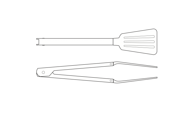 A technical drawing of the tongs, top and side view.